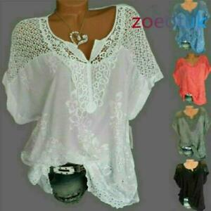 Basic cosy Ladies Lace Womens Blouse Baggy T-Shirt Short Sleeve Casual Tops