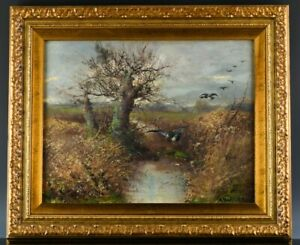 EXTREMLY WELL DONE ANTIQUE ARTIST SIGNED DUCKS MARSH POND LANDSCAPE OIL PAINTING