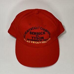 Vintage 1986 Berbick VS Tyson Las Vegas Hilton Boxing Souvenir Red Cap Hat Rare