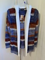 Almost Famous Junior Small Blue Red Open Faux Sherpa Hooded Cardigan Sweater NWT