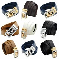 QHA Mens Designer Superhero Style Automatic Ratchet Leather Belt Auto Buckle