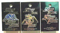Vintage Set of 3 Starship Troopers Movie Enamel Pins-Mint on Card