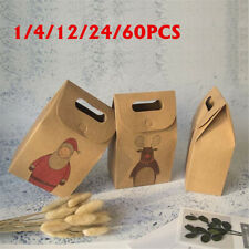60Pcs Christmas Paper Gift Bag Candy Carrier Xmas Present Candy Kids   UK D1