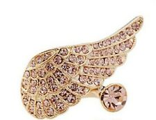 "Cute ""Wing Ring"": Angel wing with pink rhinestones"