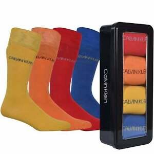 Calvin Klein 4-Pack Combed Cotton Men's Socks Gift Tin, Blue/Yellow/Orange/Red