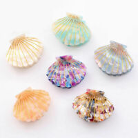 Fashion Chic Shell Girls Resin Hair Clip Claw Floral Print Grip Hairpin For Girl
