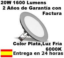 Downlight LED Slim extraplano 18W o 20W Aro Plata Luz Fría 6000K, 1600Lm. Reales