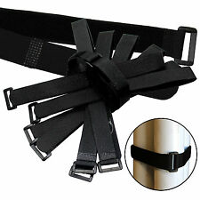 """20 x 20"""" by 1"""" Black Cable Ties ~ Wire Cord Straps Reusable Hook & Loop ~ USA"""