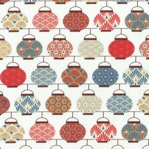 Textiles français Japanese Lanterns fabric (Red/Blue) 100% Cotton 160 cm wide