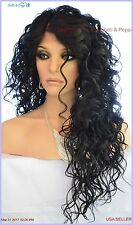 Swiss Lace Front Deep Lace Part Long Curly Heat Friendly Wig Color #1 Sexy 1161