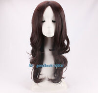 Wonder Wig Woman Long Wavy Curly Brown Hair Cosplay Wig + free wig cap