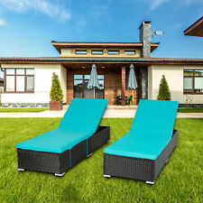 2 Pc Pe Wicker Chaise Lounge Adjustable Chair W/ Cushion Pool Outdoor Furniture