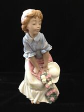 """Lladro #3506 """"Simpatica"""" Maiden with Hat / Girl with Hat & Flowers •Rare •Mint!"""