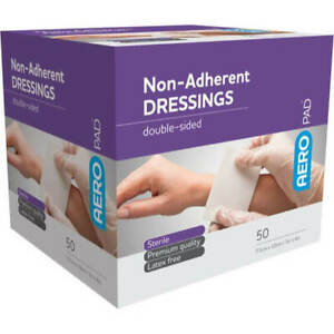 50 x Non Adherent Wound Dressing Pad 7.5cm x 10cm Sterile Double-Sided First Aid