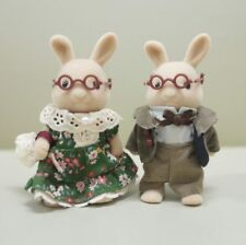 Sylvanian Families IVORY RABBIT GRANDPARENTS Used Epoch Japan Calico Critters