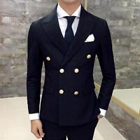 Mens Luxury Winter Double Breasted Suit Jacket Casual Sport Coat Slim Fit Blazer