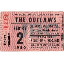 The Outlaws Concert Ticket Stub Portland Oregon 2/2/80 Jantzen Eye Of The Storm