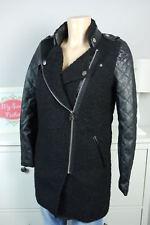 Mantel Jacke Biker-Look Bouclé Leder Impressionen Schwarz Gr. 34 XS (BH99)