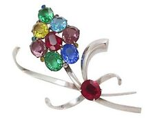 MULTI COLOR OPEN BACK GLASS CRYSTAL STERLING SILVER FLOWER BROOCH VINTAGE PIN