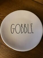 "Rae Dunn Thanksgiving  ""GOBBLE"" 2- 8 INCH"" Pottery Dinner Plates,  SET OF 2! NEW"