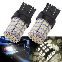 2X T20 W21W 7443 7440 LED 64-SMD 1206 Tail Stop Brake Light Bulb Lamp White FBB