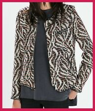 ZARA Patterned Fabric Crew Neck Front Zip Shimmery Jacket Blazer L BLOGGERS £89