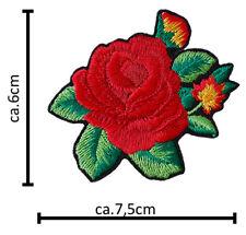 Termo Patch Rose Rot Laub Aufbügler Aufnäher Abzeichen Bügelbild Aufnäherbild