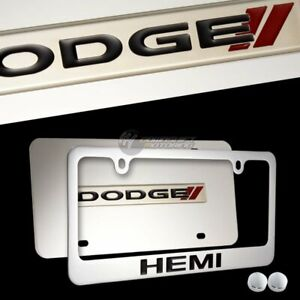 DODGE RAM HEMI Stainless Steel License Plate Frame with Caps- 2PCS FRONT & BACK
