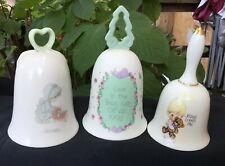 Precious Moments Bells Vintage Ceramic Lot of 3 1985 1988 1992 Vtg Jesus
