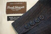 Paul Stuart VINTAGE Gray Red Stripd Wool 2 Pc Suit Jacket Pants Sz 41R