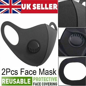 2x Breathable Air Flow Mask Washable Mouth Nose Face Mask Protection With Filter