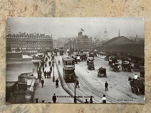 BLACKFRIARS BRIDGE 1912 Real Photo Postcard with Trams, Horse & Carts, Animated