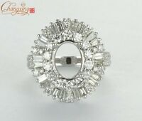 Oval 9x7mm 18k White Gold 1.80ct Natural Diamond Semi Mount Ring FIne Jewelry