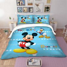 Mickey Mouse Duvet Cover Set Twin Full Queen King Size Bedding Set Blue