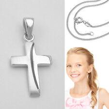 Baby Taufkette Kommunion Kind Kreuz Anhänger Echt Silber 925 mit Kette nach Wahl