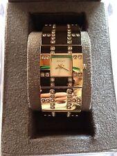 "⭐️Authentic⭐️Gold/Diamond ""BLING"" Ladies DKNY Bracelet Cuff Watch"