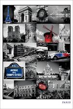 TRAVEL POSTER Paris Collage France
