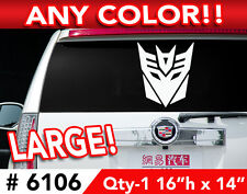"TRANSFORMERS DECEPTICON LARGE DECAL STICKER 16""h x14""  Any 1 Color"