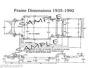 1956 Cadillac NOS Series 60 62 Frame Dimensions  Front Wheel Alignment Specs