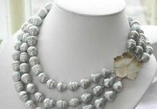 Pretty 3 strands 11-13mm natural south sea gray baroque pearl necklace 20-24''