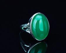 B14 eleganter Ring grüner Chalzedon Sterling Silber 925 größenverstellbar