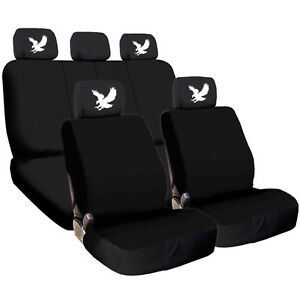 For AUDI New Black Flat Cloth Car Seat Covers and Eagle design Headrest Cover