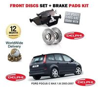 PARA FORD FOCUS C MAX 1.6i 03-07 DISCOS FRENO DELANTERO SET+PASTILLAS DE KIT