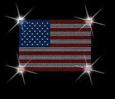 Usa Flag Bling Sequins No rhinestones transfer Iron On Hot fix applique