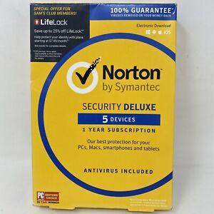 Norton Security Deluxe Softwares 5 Devices PC/Mac Windows IOS Apple Microsoft