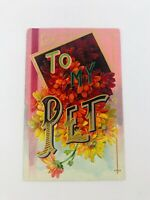 Vintage Large Letter Greetings Postcard To My Pet Embossed Germany Early 1900s
