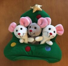 Plush Creations Inc Three Mice In Christmas Tree Finger Puppet