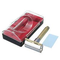 1pcs Men's Portable Safety Handheld Manual Shaver + Double Edge Razor Blade