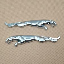 2Pcs Metal Silver Growler Car Emblem Side Fender Auto Badge Sticker For Jaguar