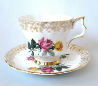 Windsor Yellow Roses Teacup & Saucer, Gold Chintz Tea Cup Set c1950s